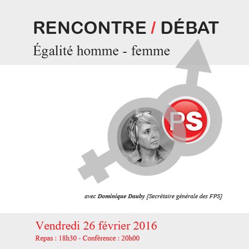 Rencontre/Débat : Égalité homme - femme avec Dominique Dauby | 28.02.2016