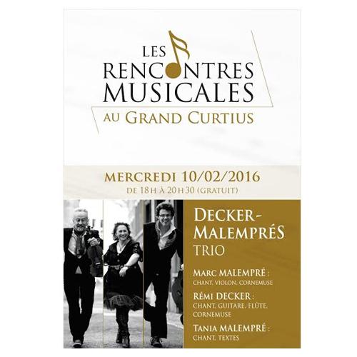 Les Rencontres Musicales au Grand Curtius : Deckers-Malemprés Trio le 10.02